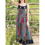 Оригинал Цветочные печати Спагетти ремень высокой талии плиссированные платья