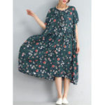 Оригинал Винтаж Цветочные печати O-образным вырезом с короткими рукавами Loose Платье