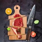 Оригинал FINDKING8дюймовSapeleWoodHandle Damascus Шеф-повар Нож 67 слоев Профессиональный японский Дамаск Стальные кухонные ножи