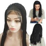 Оригинал Lace Front Парик Синтетическое волокно Волосы Черный