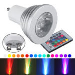Оригинал 4PCS GU10 3W Dimmable 16 Изменение цвета RGB Spotlight Дистанционное Управление LED Лампа AC90-260V
