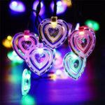 Оригинал Солнечная Мощность 8 Режимы 20 LED Сердце Форма Струнный свет На открытом воздухе Сад Свадебное Party Holiday Decor Лампа