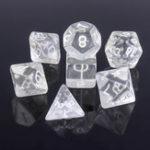 Оригинал 7Pcs Прозрачный белый Poly Кости Polyhedral Костиs Resin Gaming D & D RPG Game Set