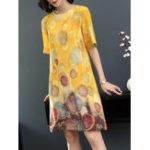 Оригинал Летняя цветочная печать Loose Short Sleeve Платье
