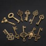 Оригинал 11шт Смешанный античный Vtg старый взгляд Изысканные бронзовые скелетные ключи Лот Кулон Необычные Сердце украшения