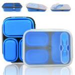Оригинал 3ячейкиПортативныйСиликоновыйОбедКоробка Складной микроволновый обед Коробка Обед Bento Коробка-термос Складной обед Коро