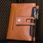 Оригинал МужчиныНатуральнаяКожаSDSIM-картаDouble Zipper Trifold Wallet