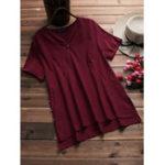 Оригинал O-NEWE Женское Pure Color V-образная вырезка повседневная летняя блузка