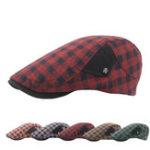 Оригинал Unisex Плед Беретные шапки Dad Painter Berets Hats