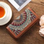 Оригинал BreniceЧешскаясерияEmossedЦветочныйдлинный кошелек Винтаж 22 слота для карт Монета Кошелек