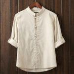 Оригинал МужскиекитайскиестильВинтажХлопковыельняные лягушки повседневные рубашки