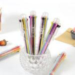 Оригинал 1 х Многоцветная шариковая ручка Ручка Многофункциональная 8 в 1 Colorful Прессованная шариковая ручка Ручка 0,5 мм Школа Поставка
