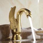 Оригинал WANFANHJ-35KГлавнаястраницаВаннаякомната Роскошное золото Swan Дизайн Одноручный смеситель для горячей и холодной воды