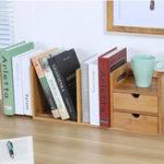 Оригинал Bamboo Desktop Bookshelf Desk Органайзер Расширяемое хранилище с 2 ящиками Офис Школа Книжный держатель