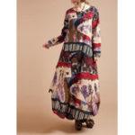Оригинал Женское Цветочные печатные длинным рукавом O-образным вырезом Длинные платья