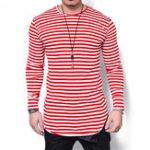 Оригинал Полосатая печать с длинным рукавом Тонкий Fit T-shirt