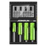 Оригинал JoinRun S4 4Slots EU Plug LCD Дисплей Автоматическое быстрое интеллектуальное зарядное устройство Li-ion / NI-MH / NI-CD Батарея