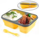Оригинал 2ячейкиСиликоновыйСкладнойобедКоробка Контейнер для хранения посуды с микроволновой печью