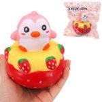 Оригинал НЕТ НЕТ Strawberry Penguin Squishy 13 * 11CM медленно растет с подарком коллекции упаковки Soft Toy