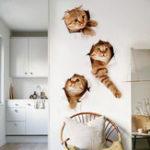 Оригинал Miico3DТворческийПВХстенынаклейки Home Decor Mural Art Removable Кот Наклейки на стену