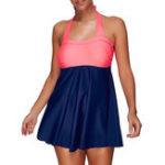 Оригинал Plus Размер Высокая эластичная обложка Belly Halter Padding Swimdress