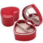 Оригинал PU Сердце Shaped Jewelry Коробка Двойные слои с зеркалом