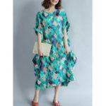 Оригинал Женское Летняя мозаика Мозаика Maxi Casual Платье