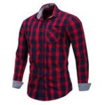 Оригинал Mens Fashion Plaid Printing Cotton Casual Shirts