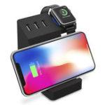 Оригинал Bakeey 3 порта USB Qi Беспроводная зарядная настольная держатель для подставки для мобильного телефона Tablet Apple Watch