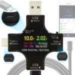 Оригинал JUWEI Многофункциональный цвет TFT USB-тестер Bluetooth Type-C PD Цифровой вольтметр Счетчик тока Амперметр Индикатор зарядного устройства питания