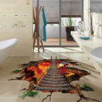 Оригинал Miico Creative 3D Fire Chain Bridge Broken Wall PVC Removable Home Room Decorative Wall Floor Decor Sticker