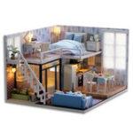 Оригинал DIY Blue Time Миниатюрная деревянная современная кукольная мебель Набор LED Рождественский подарок Doll House