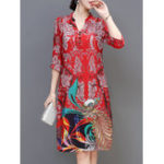 Оригинал Элегантная цветочная печать 3/4 Sleeve Silk Платье
