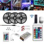 Оригинал 15M 2835 RGB Гибкий IP65 Smart Wifi Контроллер APP LED Полоса свет Набор Работа с Alexa AC110-240V