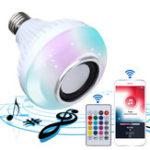 Оригинал E27 Беспроводная сеть Bluetooth Лампочка для ламп накаливания LED RGBW Музыкальная лампа + 24 Ключ Дистанционное Управление AC85-260V