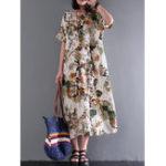 Оригинал Женское Винтаж Короткие рукава Хлопок Floral Maxi Платье