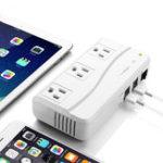 Оригинал 12V DC до 220V AC 200W Преобразователь зарядного устройства инвертора 4 USB-порт 3 розетки