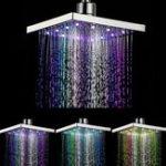 Оригинал 360 ° Регулируемая температура влаги в хромах, контролируемая несколькими цветами LED Душевая насадка