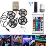 Оригинал 4PCS 5M Non-водонепроницаемый SMD2835 RGB Alexa APP Home Wifi Управление Smart LED Полоса свет Набор AC110-240V