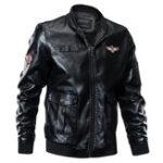 Оригинал ВоенныйСтильFauxLeatherZipperБольшие карманы PU Куртка для