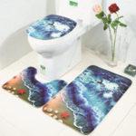 Оригинал HonanaВаннаякомнатаКоврикидляковриков 3 шт. 3D-волны Печатная фланель Soft Душевая ванна Туалет Коврики Комбинация