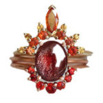 Оригинал 3шт/комплектШтабелируемыекольца Ruby Crystal Flower Шарм Чешский