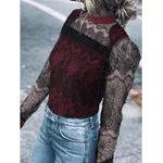 Оригинал Кружевные лоскутные лоскуты с длинным рукавом Женское Нижние футболки