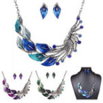 Оригинал Gradient Color Leaf Peacock Enamel Crystal Necklace