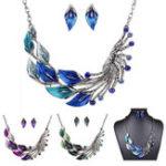 Оригинал Gradient Color Leaf Peacock Enamel Crystal Necklace