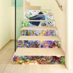 Оригинал Miico6Pcs/setТворческиймультфильм Blue Подводная лестница Стикер Домашний декор Mural Art Съемные наклейки на стене