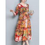Оригинал Plus Размер Цветочная печать Три четверти рукава Платье