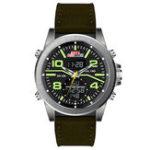 Оригинал KAT-WACHKT715КожаныйхронографDualДисплей Цифровые часы