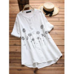 Оригинал Женское Цветочные O-шеи с короткими рукавами Хлопковая блузка