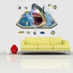 Оригинал MIICOCreative3DSeaSharksFish Removable Home Room Декоративная настенная наклейка
